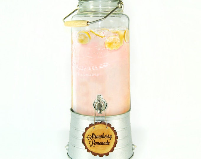 Glass Beverage dispenser  with personalized tree slice sign