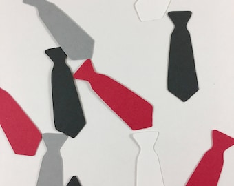 Red, Gray, Black, and White  1.5in Necktie Die Cuts/Confetti-