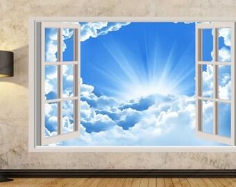 Blue Sky  3D Window Effect Wall Sticker Art Mural Decal 312a