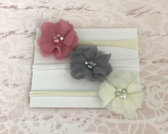 Baby Headband..ReadY to Ship.... SALE PRICED...mini chiffon flower Collection...YOur Choice of Headband....Newborn Collection...Headbands