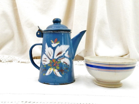 Small French Antique Hand Painted Blue Enamel Coffee Pot, Tiny Enamelware Cafetiere with Flower Pattern from France, Old Toy Metal Tea Pot