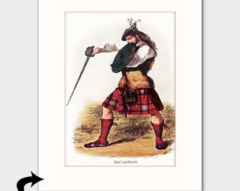 Clan MacLachlan Family Art Print w/Mat (Highland Kilt, Sword & Shield, Scottish Gift) --- Matted Scotland Art