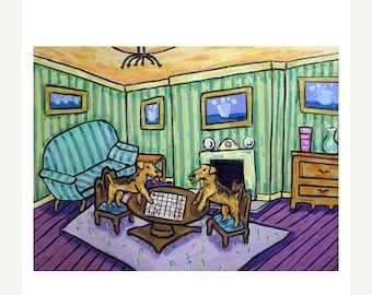 25% off Airedale Terriers Playing Checkers Dog Art Print