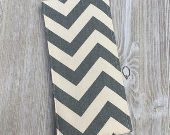 Tract Holder in Gray Chevron Cotton - Pocket for Invitations and Contact Cards and 8 Clear Pockets Inside - jw Tract Holder - Ready to Ship