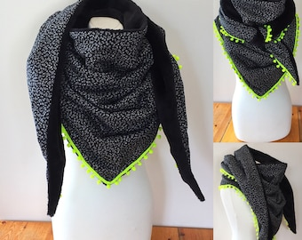 Maxi black and white scarf with neon yellow tassel lined black faux fur