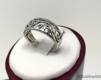 Vintage 925 Sterling Silver Filigree Band Midi Ring Above The Knuckle Ring