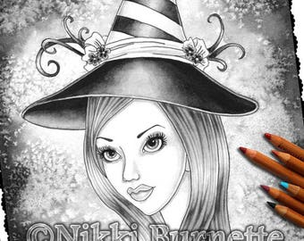 Adult Coloring Page - Grayscale Coloring Page Pack - Printable Coloring Page - Digital Download - Fantasy Art - ESME - Nikki Burnette