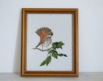 vintage framed embroidered bird/needlework