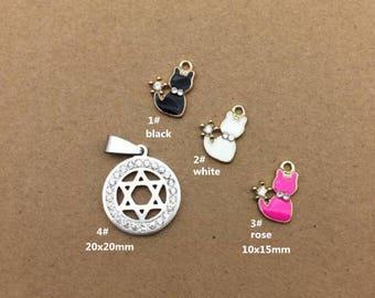 10PCS, Enamel Charm, Cat Charm, White Star Pendant, Jewelry Charm, Craft Supplies, Gold Tone