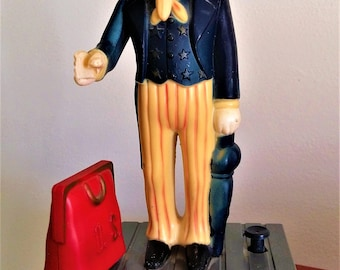 Vintage 50's Piggy Bank Coin Bank Uncle Sam U.S. Bank 1950's Toy Bank