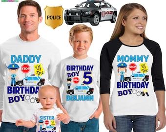 Police Birthday boy Shirt/Police officer/Police Birthday/Police shirt/Birthday boy/family matching shirts/ CST17