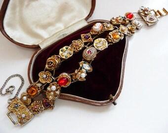 vintage Victorian Revival charm slide bracelet | faux Victorian fob slides | multi color | 1960s 1970s | double bracelet | Goldette style