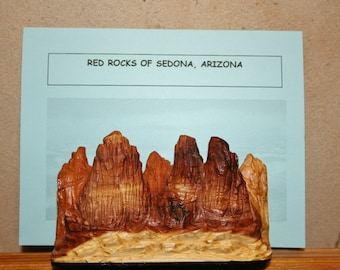 Red Rocks of Sedona Arizona landscape woodcarving as either a magnet or shelf piece