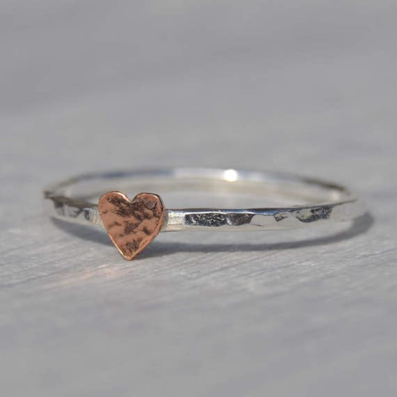 Silver Ring with Gold Heart Silver Stacking Ring Heart