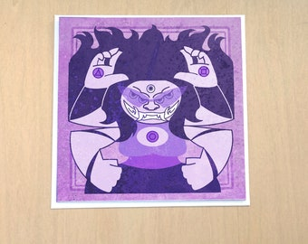 Twilight Juggernaut - 5x5 inch blank card  featuring Steven Universe inspired Protective Crest Sugilite Amethyst and Garnet