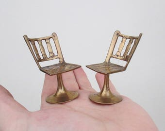 1950's / 60's Collection - 2 Brass Miniature Dolls House Chairs - Modernist Style - Round Tulip Base Designer Chairs - These Are Beautiful