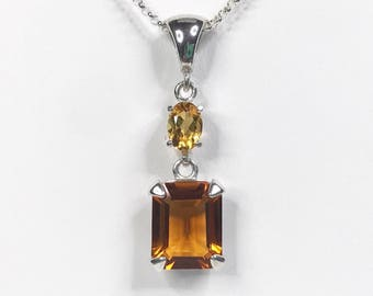 Gorgeous 6ctw Honey Citrine & Golden Citrine Necklace Emerald Cut Trending Jewelry Gift Mom Wife sister November Birthstone Madeira Citrine