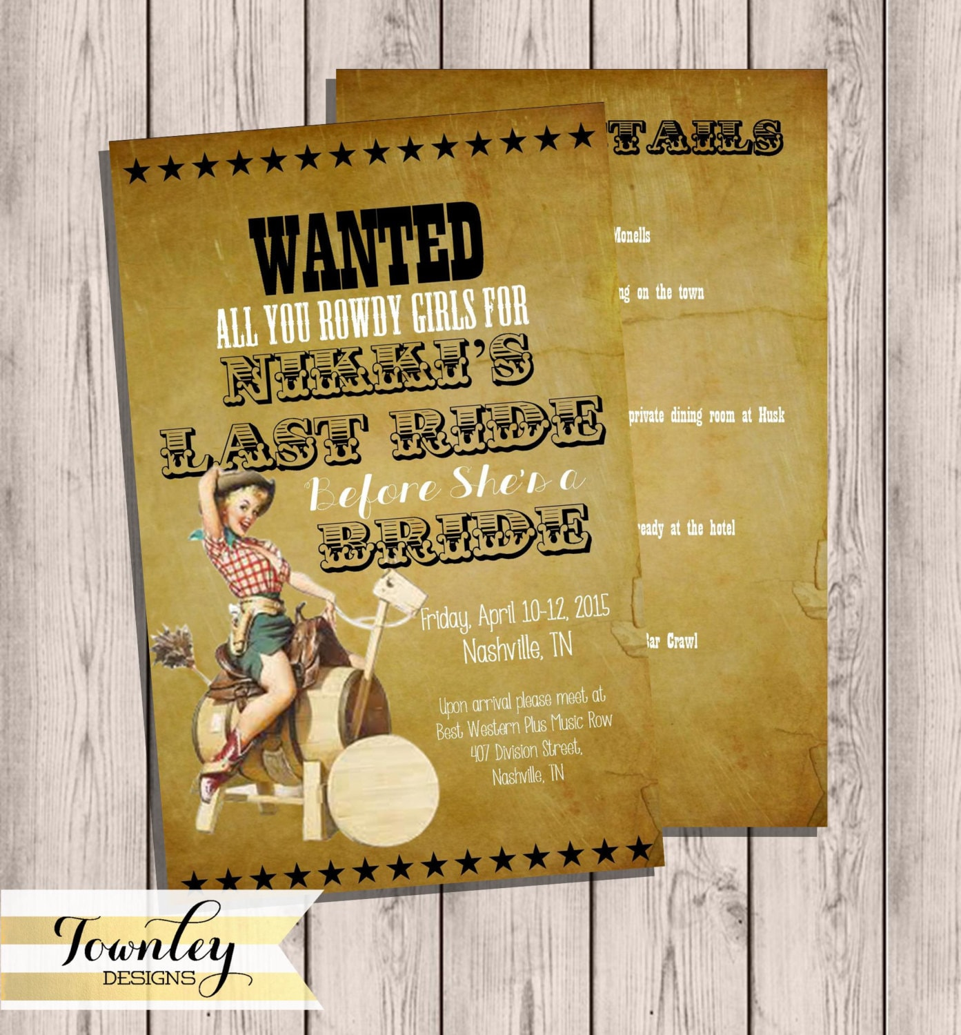 Western Pinup Nashville Wanted Bachelorette Party