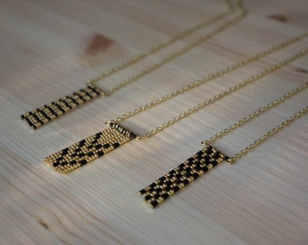 Beaded Fringe Necklace, African inspired, black and gold