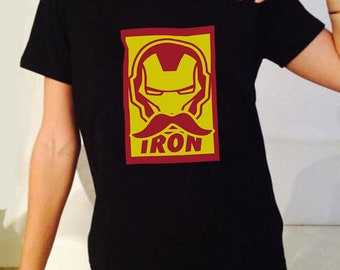 Ironman The Iron Mustache Marvel Movie Inspired. Male And Female T-Shirt