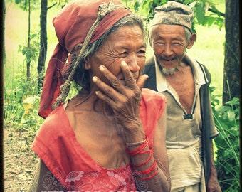 Portrait Photography, Couple, Fine Art Print, Travel Decor, True Love, Nepal Photo, Old Man and Woman, Wedding Gift, Couples,Travel Portrait
