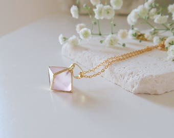 Rose Quartz Pendant Necklace   Rose Quartz Necklace   Rose Quartz Jewelry   Rose Quartz Jewellery   Gift for wife   bestselling necklace