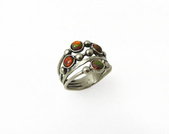 Silver red opal ring. sterling silver ring. Red stones silver ring. Opal ring. Opal silver ring. Wide opal ring. Wide ring. opal jewelry