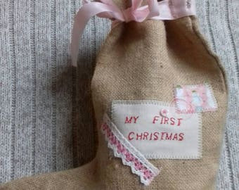 SALE/My first Christmas stockings/pink/Christmas hessian stocking/sale item/end of line/last one