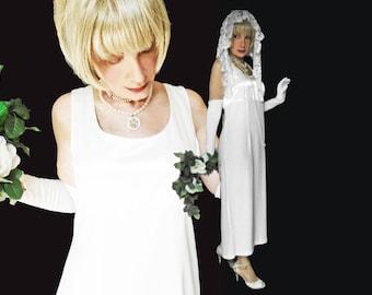 Simple Wedding Dress Evening Gown Minimalist White Formal, Tank Bodice, Womens Large 80s Vintage Bridal Classic Style Long Column Sheath