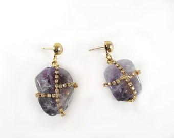 Gold-plated stud earrings with glossy stone amethyst Pendant