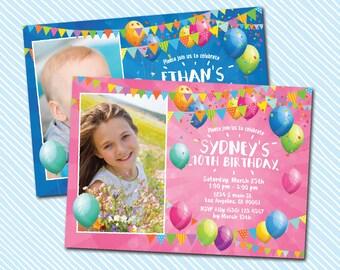 Digital Printable Birthday Invitation. Balloon birthday. boy birthday. girl birthday