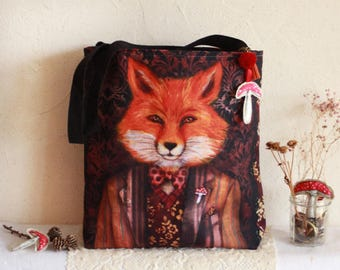 "Large Shopping bag - shoulder bag - illustrated bag -fox bag - ""Lord Fox"""
