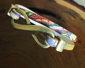 Paisley Leather Wrap Bracelet