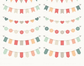 """Bunting Set Clipart. """"BUNTING FLAGS CLIPART"""". Vector Bunting Flags, Vector Clipart. 12 images, 300 dpi. Eps, Png files. Instant Download."""
