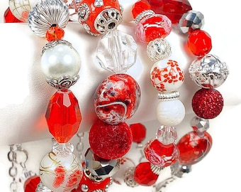 Bracelets with Crystal, Ceramic,  Kashmiri Beads, Metal Hearts  and More in Red and White