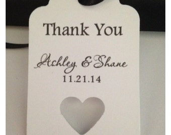 Elegant Heart Punch Thank You Wedding Tags Personalized Favor Tags Gift Hang Tag