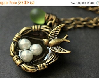 MOTHERS DAY SALE Bird Necklace. Bird Nest Necklace with Fresh Water Pearl and Glass Teardrop. Bronze Necklace. Bird Charm Necklace. Handmade