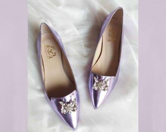 Wedding shoes Wedding flats Bridal flat shoes Wedding flats Flats Purple flats Ballet flats women gift Bridal flats gift blue women shoes