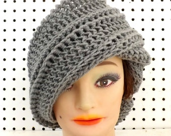 Gray Crochet Hat Womens Hat Trendy, Steampunk Hat, Crochet Beanie Hat, Gray Hat, African Hat, Judy Beanie Hat for Women, Judy Hat
