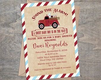 Vintage Fire Truck Baby Shower Invitation Classic Fireman Dalmatian Red Chevron Birthday Party invitation