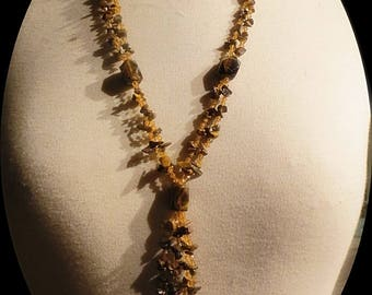 Long Strand Tigar Eye Chips Strand Necklace # 044