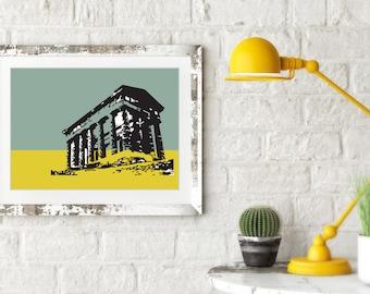 Penshaw Monument. Architectural Print. Landscape. Sunderland.