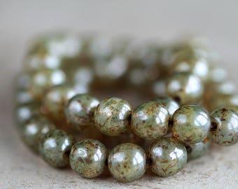 8mm Sage Green Czech Glass Druk Beads, Glass Round Beads, Picasso druk beads (25pcs) NEW 1.1.7