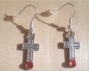 Cross Earrings, Religious Earrings, Rhinestone Earrings, Christmas Earrings, Jewelry Findings