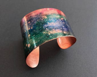Asymmetrical Wide Cuff Bracelet with Colorful Abstract Finish  - Organic Forged Copper or Brass - Statement Bracelet - Adjustable Bangle