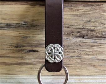 Celtic leather belt keychain