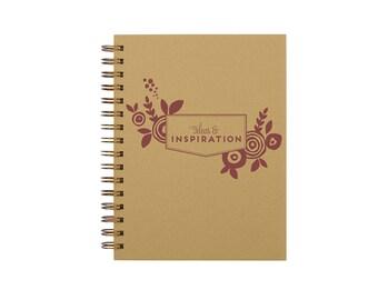 Floral Inspiration Journal - Notebook | Lined Pages | Spiral Bound | Letterpress | Hard Cover