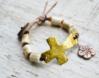 GOLD CROSS Cream Ceramic Barrel Bead Leather Bracelet with Mother of Pearl Floral Charm
