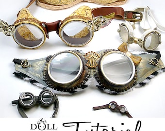 DIY Goggle PDF Tutorial Patterns Aviator Costume Goggles How to make goggle sets for dolls or people costumes