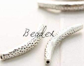 6 Pieces / Tube / Spacer / Curved / Texture / Oxidized Silver / Base Metal (Y8103//S32)